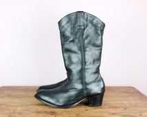 Black Leather Cowgirl Boots Real Leather Festival Shoes Boho Bohemian Western Vintage 90s