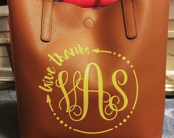 Monogrammed personalized Reversible Tote/ Purse