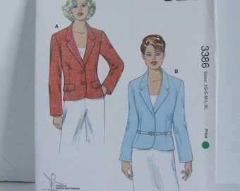 Uncut Kwik Sew sewing pattern 3386 ladies unlined fitted jacket or blazer designed by Kerstin Martensson business casual clothing for women