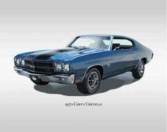 Classic Cars - 1970 Chevy Chevelle SS - Muscle Car - Print Only