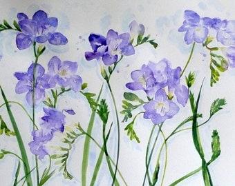 Freesias. An original acrylic ink painting.