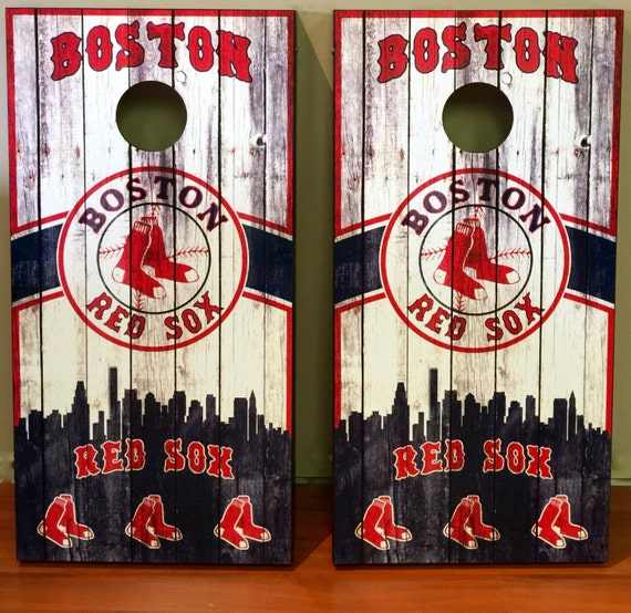 Custom Made Cornhole Bean Bag Toss Boards Boston Red Sox Free