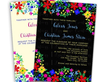 Mexican Embroidery Inspired Wedding Invitations & Blank Thank You Card to match