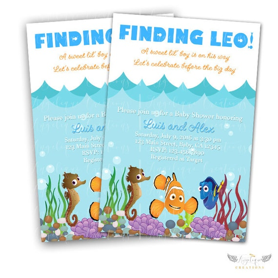 Finding Nemo Invitations & Blank Thank You Card to match