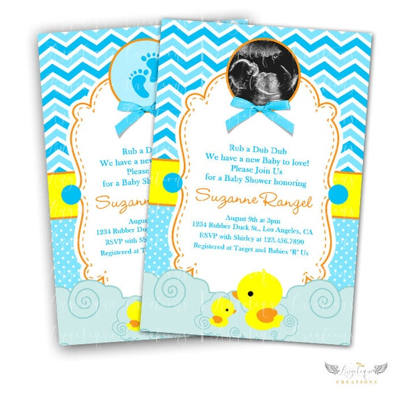 Chevron and Polka Dots Rubber Ducky Baby Shower Invitations & Blank Thank You Card to match