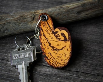 Sloth - genuine leather keychain