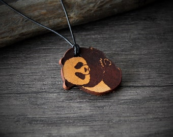 Sweet cute baby panda bear - genuine leather pendant