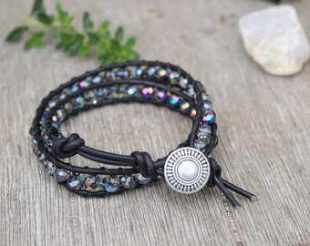 Leather Wrap Double Bracelet with Multi Color Beads