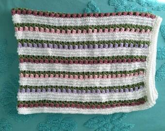 Tulip Flowers Baby/Toddler/Crib Blanket, White, Pink, Lavender, Soft green