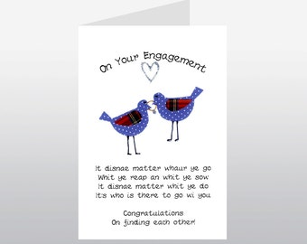 Scottish Engagement Card Spotty Birds WWWE12