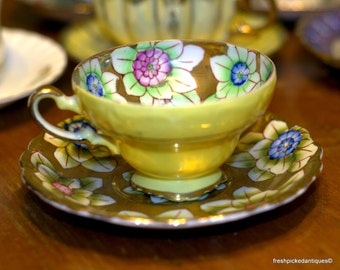Trimont China Made in Occupied Japan Handpainted Tea Cup and Saucer 2 Available