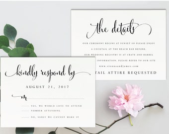 Instant Download Printable RSVP and Details Cards-Editable PDF-DIY Invitation Template-Printable rsvp and Response Card-Wedding-#SN004_DR