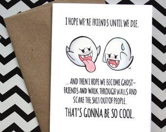 Cute Super Mario Boo Ghost Best Friend Love Card