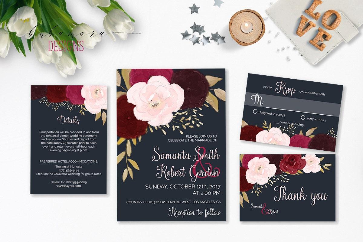 navy burgundy wedding invitation suite by bubamaradesigns With etsy wedding invitations burgundy