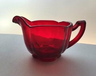 Vintage Ruby Red Glass Creamer