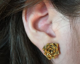 Flower Earrings in Gold Duct Tape
