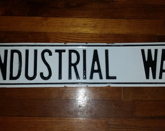 Vintage Industrial Way Street Sign.