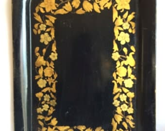 """Antique Toleware Tole Metal Hand Painted Serving Tray Floral Design Accent Piece 17.25"""" x 12.25"""""""