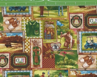 Tee Time Golf Patch, Golf Carts,Clubs,Shoes, Fabri Quilt