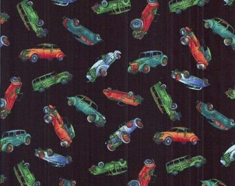 Classic Cars Fabric...Small Classic Cars Quilt Fabric on black Kaufman 2804-3