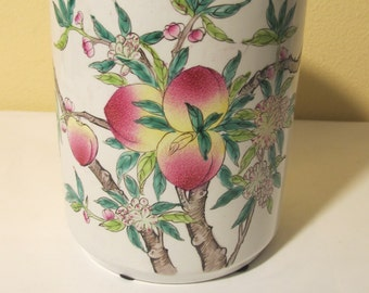 Vintage Colored  Brush Holder with  Peaches