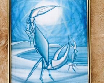 Vintage Crabby Print Blues framed print