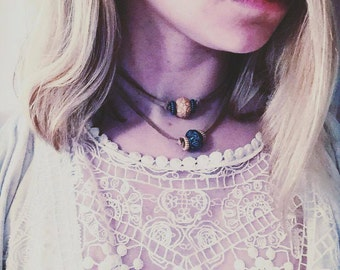 Double Stranded Beaded Choker Necklace