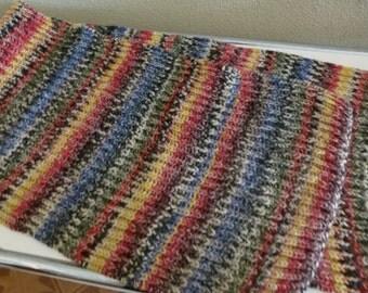 handgestrickter Wollschal mit buntem Farbverlauf, handknitted colourful scarf