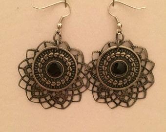 Silver Double Dangle Lace Earrings