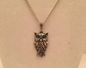Silver Owl Charm Necklace