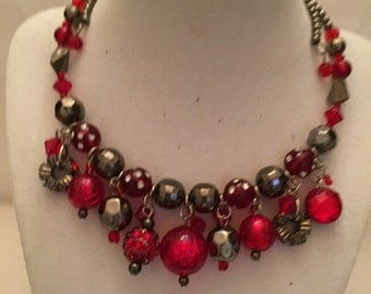 Red Jeweled Choker/Red Necklace/Red Jewelry/Choker/Necklace