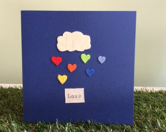 It's raining hearts - greeting card