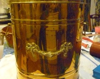 Handsome  brass coal or kindling bucket