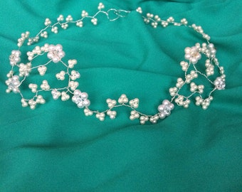 Bridal swarovski pearl and crystal floral hairband; Handmade, sterling silver
