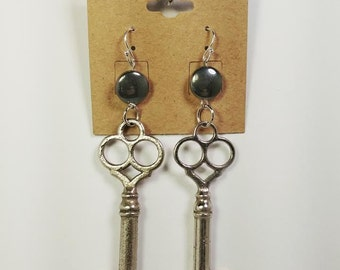 Key and Hematite Earrings