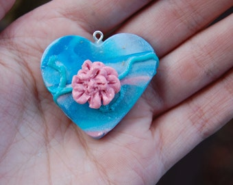 Clay Heart Pendant with a Flower