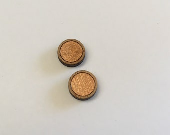 10mm Copper/Bamboo Circle Gloss Studs
