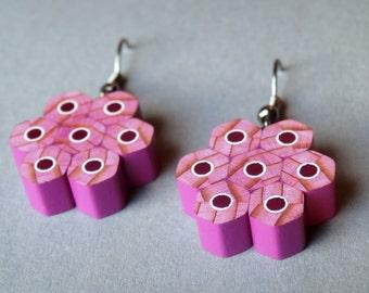 Violet earrings; pencil earrings; handmade earrings