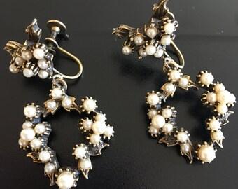Vintage Pearl Clip/Screw back on Pearl Earrings