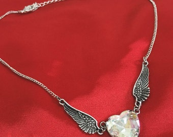 Winged heart necklace / heart and wings choker necklace