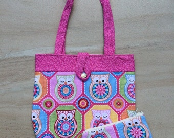Pink owls handbag and purse