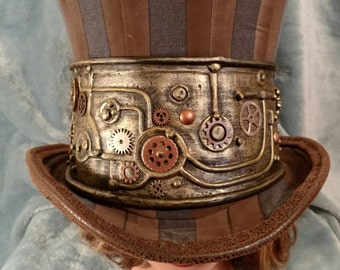 Steampunk Top Hat in Brown and Black Stripe