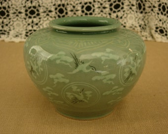 Japanese Celadon Vase with Flying Crane and Clouds motif