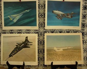 "Vintage Aviation Prints, Jet Fighter Prints, North American Aviation Inc. Lithographs, Lot of 4, flight ""B"""