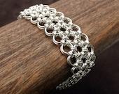 Japanese Chainmail Hana Gusari Bracelet - Sterling Silver