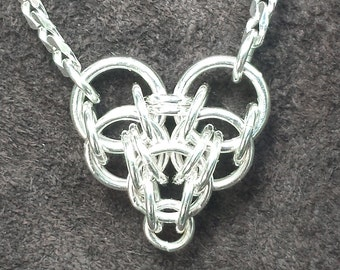 Persian Heart Chainmail Pendant - Sterling Silver