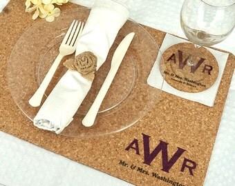 Wedding Decoration Placemats, Monogram Cork Placemats -  Set of 12
