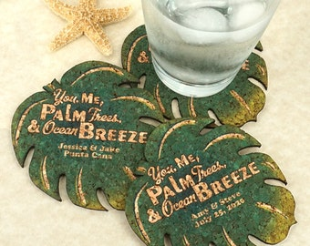 Wedding Favor Coasters, Personalized Shaped Cork Coasters, Palm Leaf Cork Coaster - Set of 12