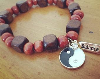 Wooded Ying Yang & Balance Bracelet
