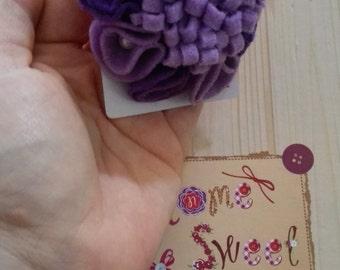 Purple flower Brooch/ Felt flower Brooch
